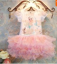 SQ134 Free Shipping Retail Custom-Made Movie Baby Dress Summer Girl Dress Princess Elsa Dress For Children Princess Dress(China (Mainland))