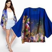 2014 New arrivals Ladies' elegant floral print blue Kimono outerwear loose cape coat casual Cardigan brand designer tops