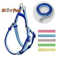 Strip Print Nylon Dog Pet Harness & Walking Leash Set Variety of Colors S\M\L