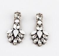 Min order is $10(mix order)2014 new arrived Retro crystal earrings leaves women earrings drop long fashion earing