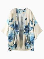 Beige Pocket Floral Print Long Vintage Kimono With Lining Cape Loose Cardigan Jacket Coat Plus Size New HOT 2014 Summer Autumn