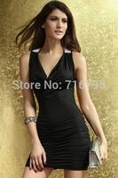 2014 New Women Sexy Crisscross Back Ruched Mini Dress Evening Dress Sexy Party Dress , Free Shipping