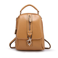 Fashion Backpacks Women High Quality Pu Leather Zipper Handbag Solid Chool Bag For girls Laptop Duffel Back B152