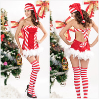 Hot Christmas Jumpsuit New Spring 2014 Fantasia Cosplay Dress Latex Hood Erotic Lingerie Sandpiper Sexy Bodycon Women Dresses