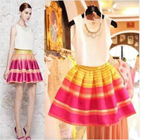 2014 Summer Sleeveless Chiffon Blouse Tops+ Rainbow Striped Ball Gown Tutu Skirts Women's Clothing Sets 2 Pieces Suits M660