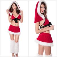 Eudora Brand 2014 New Feminina Fantasia Cute Red Santa Girls Strapless Porn Adult Sex Cosplay Sexy Costume for Christmas