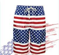 New Men's American USA Flag Board Surf Shorts Swim Trunks Beach Shorts Stars & Stripes Swimwear Plus Size 30 32 34 36 38