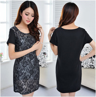 Europe American Summer 2014 Women Vestidos Lace Dress Plus Size Short Sleeve Fashion Noverty Casual Dress M L XL XXL XXXL 4XL