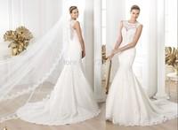 qn-36 new appliques beads crystal mermaid cap sleeve see through close back long veil long train tulle wedding dress 2014