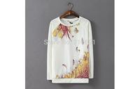 2013 New fashion Europe Women elegant flower  printed Chiffon stitching Pullovers Casual stylish Loose ladie's  Hoodies#J064