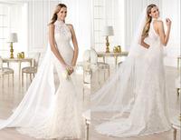 qn-37 new appliques beads crystal mermaid high collar see through close back long veil long train lace wedding dress 2014