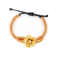 7.5'' Adjustable Shamballa Bracelets Bangles Big Flower Charm Yellow Gold Bracelet for Women CA295