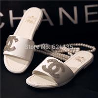 Hot Sale Women Fashion Rhinestone 2014 Female Slippers Summer Flat Slip-resistant Drag Beach Slipper Women's Sandals Shoes