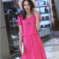 The new summer Korean version of the long chiffon dress short sleeved V's collar women's dress code Beach Dress