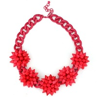 New Brand Chunky Chain Red Balls Choker Bib Statement Necklace