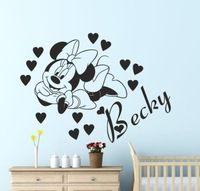 Large Hot Personalised Name Minnie Mouse Wall Art Sticker Decal DIY Home Decoration Wall Mural Removable Bedroom Sticker 58x72cm