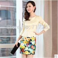 Hot Sale! New 2014 Autumn Korean Slim stylish hip pack long-sleeved dress Free Shipping       q4594