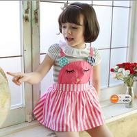 2014 girl dress in summer 3~7age cartoon love pink brand girls apparel 1pcs retail kids princess dresses