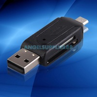 2 In 1 Dual USB Plug OTG SD TF Card Reader For Smartphone Computer Black A#S0
