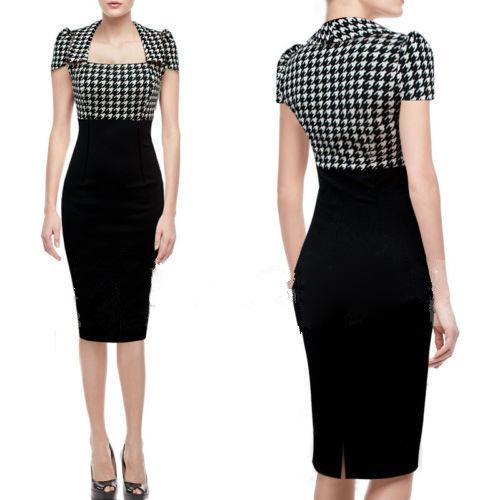 Original New 2014 Women Vintage Dress Floral Lace Color Block Wear To Work