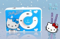 5pcs/Lot fashion mini clip hello Kitty MP3 player support TF card 5 colors with usb cable+earphone