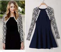 XL~4XL Lady Plus Size Long Sleeve Elegant Patchwork Spring Autumn Dress New Korea Style Scalloped Lace Knee Length Dresses