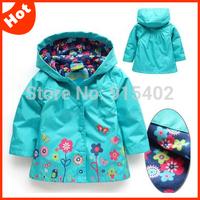 2014 Autumn flower girl's jackets waterproof girls outerwear baby girl trench baby girls hoodies coat DZ34