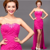 sexy colorful rose red mermaid Evening Dresses 2014 fashion dress party evening elegant long design vestido de festa longo,7317