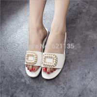 2014 Summer European Female Slides Women's Rhinestore Pearl Flat Fashion Beach Slipper Women Sandals Shoes Free Shipping