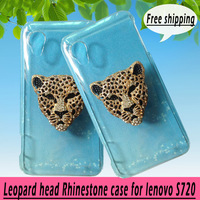 For lenovo S720 case,Bling Crystal rhinestones Colorful Leopard head Cover for lenovo S720, diamond case PC skin ,free shipping