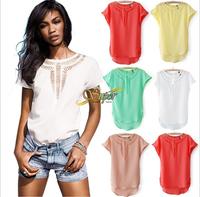 new 2014 women t-shirt women's clothing fashion t shirts womens exo blouse atacado do roupas femininas chiffon solid hollow out