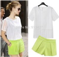 2014 female fashion clothing set high quality short sleeve tops with zipper fly shorts twinset women sets elegant shorts suits