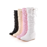 2014 new autumn winter  candy color  European and American fashion boots  wedage heel female  leisure side lace boots  43 size