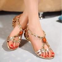 Genuine new summer sandals women diamond flat shoes with leather flat shoes women's flat shoes Xia Luoma