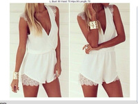 Free shipping 2014 summer women chiffon sexy sleeless lace jumpsuits&rompers casual shorts one piece overalls for women l1177