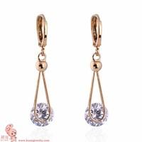 2014 Popular Korean Style Crystal Copper Dangle Earrings Women ER0469