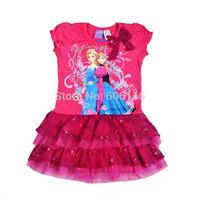 Newest Wholesale(6pcs/lot) Children/kids/girls High quality original Elsa Anna Frozen cotton lace dress(2 to 8 years)-WYX-BB-62