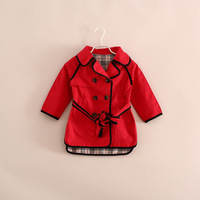 free shipping!wholesale little girl plaid lining cotton trench coat jacket with belt red khaki