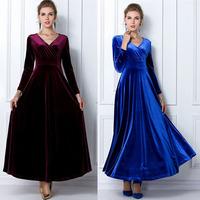 2014 New Autumn Luxury Elegant Vintage Women Ladies Female V-neck Long Sleeve Party Evening Slim Long Maxi Pleuche Dress #8885
