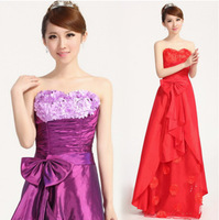 New Arrival  High Quality Luxury Women Strapless Sexy Wedding Dress Flower Bow Dec Toast  Dress FZ671