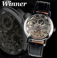 Winner Black Leather Strap Watch Fashion Men Vintage Skeleton Mechanical Watch Hand Wind Dress Wristwatch