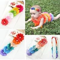 20 pieces / lot 2014 New Fashion Colorful Flower Alloy Rhinestone Baby Headband & Girls Flower Headband 0081