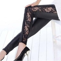 Wholesale manufacturers selling new cotton lace stitching leather pants nine points leggings wholesale black