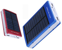 Dual usb solar charger 10000mah Solar Battery Panel Mobile Phone Power Bank with LED flashlight + usb cable + 4 adapters+box