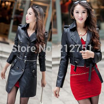 Leather Jacket Женщины Trench 2014 Slim Кожа PU является высокотехнологичным и высокосортным ...