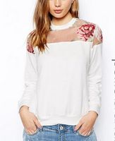 SW430 New Fashion Ladies' elegant floral Print organza spliced white pullover outwear Casual slim long Sleeve brand design Tops