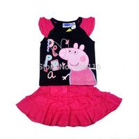 Wholesale New Children summer girl 2pcs peppa pig cartoon set with T-shirt + Skirt, Children clothes suit, 7sets/lot-WYX-BB-11