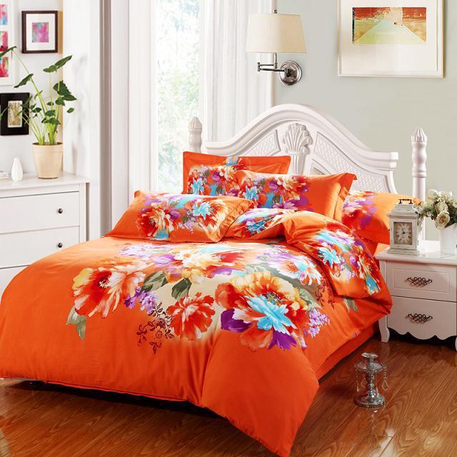 Bright Color 3d Watercolor Floral Print Orange Bedding Set