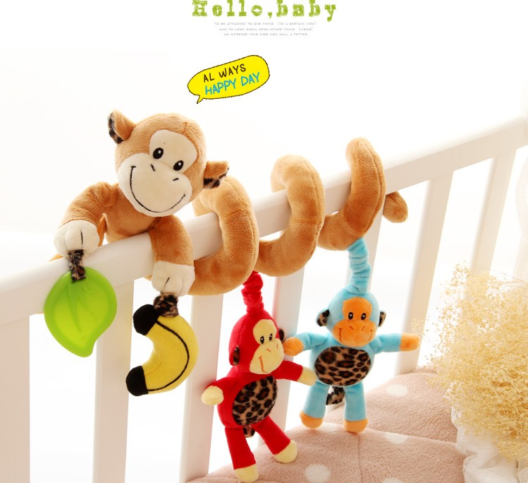 2014 new Baby&infant toys Baby plush stuffed toy bed hangings the monkey family(China (Mainland))