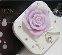 Lolita Purple Flower Travel Eye Contact Lens Case Care Kit Mirror Box Free Shipping
